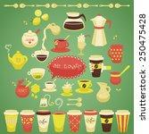 set of colorful flat vector tea ... | Shutterstock .eps vector #250475428