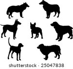 Stock vector illustration with dog silhouettes isolated on white background 25047838