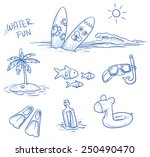 icon set summer beach holidays  ... | Shutterstock .eps vector #250490470