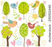 tree bird butterfly forest... | Shutterstock .eps vector #250502440