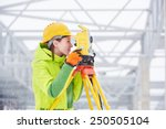 Female Surveyor Worker Working...