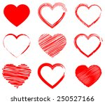 red hearts set  isolated on... | Shutterstock .eps vector #250527166