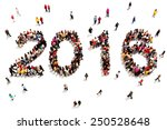 Bringing in the new year. Large group of people in the shape of 2016 celebrating a new year concept on a white background. Vertical version also available. - stock photo