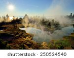 Sunrise  Steaming Geysers And A ...