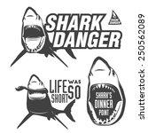 Set Of Aggressive Shark Sings...