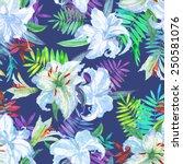 delicate flowers on a dark... | Shutterstock . vector #250581076