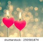 Hearts Candles On Vintage Boke...