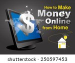 make money online of computer...   Shutterstock .eps vector #250597453
