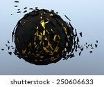 black sphere shattered abstract ... | Shutterstock . vector #250606633