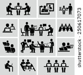 business coworkers talking and... | Shutterstock .eps vector #250617073