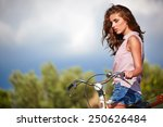 sexy woman with vintage bike in ... | Shutterstock . vector #250626484