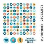 set of 100 flat style education ... | Shutterstock .eps vector #250633576