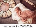 sweet newborn baby. big watch... | Shutterstock . vector #250638934
