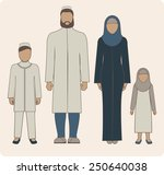 traditional muslim family with... | Shutterstock .eps vector #250640038