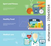 healthy lifestyle flat banners...   Shutterstock . vector #250643014