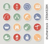 round camping icons set. raster ... | Shutterstock . vector #250643284