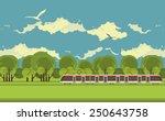 train on the railroad passes...   Shutterstock .eps vector #250643758