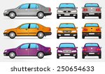 vector sedan car   side   front ... | Shutterstock .eps vector #250654633