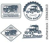 vector set of vintage trucks... | Shutterstock .eps vector #250663813