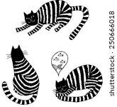 Striped Cats. Hand Drawn...
