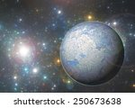 Fantasy ice planet with alien sun and stars background - stock photo