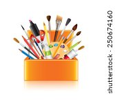 Art supplies box isolated on white photo-realistic vector illustration
