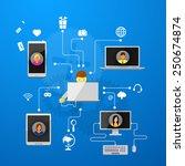 the concept of social network... | Shutterstock .eps vector #250674874
