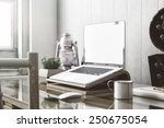 stylish workspace with laptop ... | Shutterstock . vector #250675054