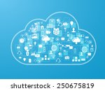 cloud upload with apps... | Shutterstock .eps vector #250675819