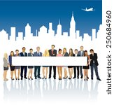 crowd of businesspeople...   Shutterstock .eps vector #250684960