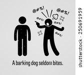 a barking dog seldom bites   Shutterstock .eps vector #250691959