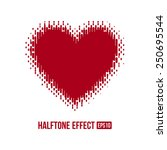 red heart with halftone effect. ... | Shutterstock .eps vector #250695544