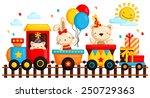 birthday train | Shutterstock .eps vector #250729363