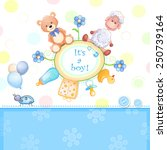 baby shower card with toys.  | Shutterstock .eps vector #250739164