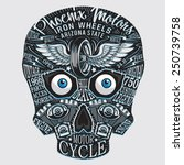 skull motorcycle typography  t... | Shutterstock .eps vector #250739758