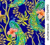 beautiful peacock pattern.... | Shutterstock .eps vector #250756990