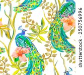 beautiful peacock pattern.... | Shutterstock .eps vector #250756996