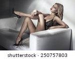 seductive blonde beauty | Shutterstock . vector #250757803