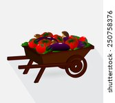 . a cart with vegetables ... | Shutterstock .eps vector #250758376