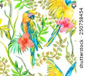 macaw seamless pattern. topical ... | Shutterstock .eps vector #250758454
