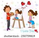 lover boy painting portrait of... | Shutterstock .eps vector #250759819