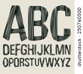 striped type font  vintage... | Shutterstock .eps vector #250760500