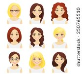 Set of cute girls with different hairstyles and color