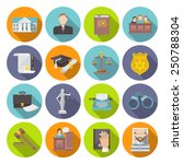 law icon flat set with lawyer... | Shutterstock .eps vector #250788304