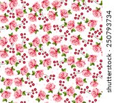 vector pink roses seamless... | Shutterstock .eps vector #250793734