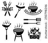 bbq  set icons  logos badges ... | Shutterstock .eps vector #250798246