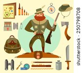 hunter arsenal  beard  ax  gun  ... | Shutterstock .eps vector #250798708