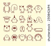 set of cute simple cartoon... | Shutterstock .eps vector #250842694