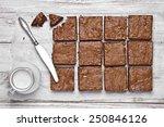 Chocolate walnut brownies on a...