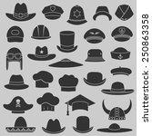 vector set hat and cap...   Shutterstock .eps vector #250863358
